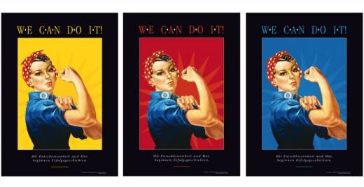 Motivationsbild WE CAN DO IT! Drei Bilder, Drei Farben