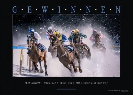 GEWINNEN - Motivationsbild Wandbild - Wer aufgibt, wird nie Sieger, doch ein Sieger gibt nie auf.