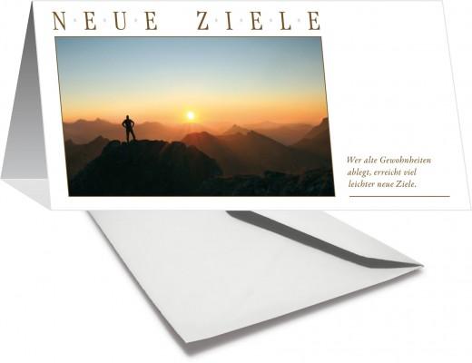 Grußkarte NEUE ZIELE - Berggipfel