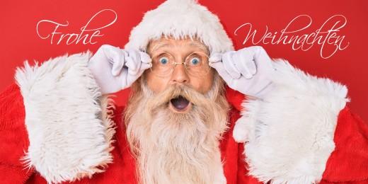 Grußkarte FROHE WEIHNACHTEN - Weihnachtsmann mit Brille