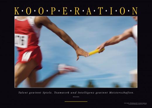 KOOPERATION - Motivationsbild Wandbild Staffellauf