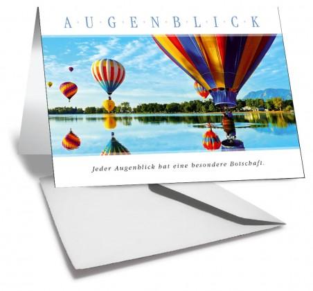 Grußkarte AUGENBLICK - Heissluftballone am See