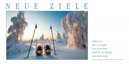 Grußkarte NEUE ZIELE - Schneeschuhe