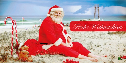 Grußkarte FROHE WEIHNACHTEN - Motiv Weihnachtsmann am Strand
