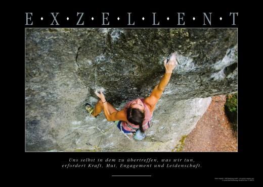 EXZELLENT - Motivationsbild Wandbild Kletterwand