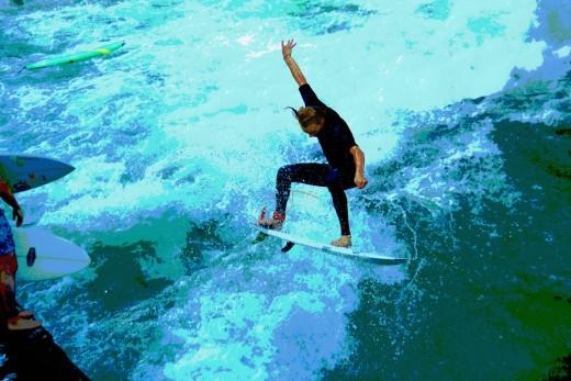 Eisbach Surfer - Leinwandbild