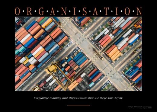 ORGANISATION - Motivationsposter Motiv Container Wege Luftaufnahme