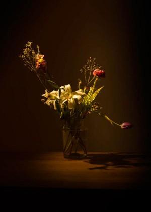 Rosen und Lilien Blumen Leinwandbild