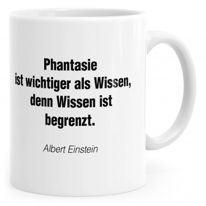 Tasse Phantasie mit Motivationstext und Bild