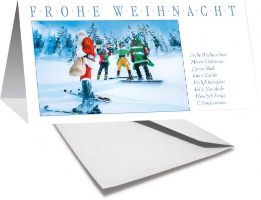 Grußkarte FROHE WEIHNACHTEN - Weihnachtsmann auf Ski - mehrsprachig